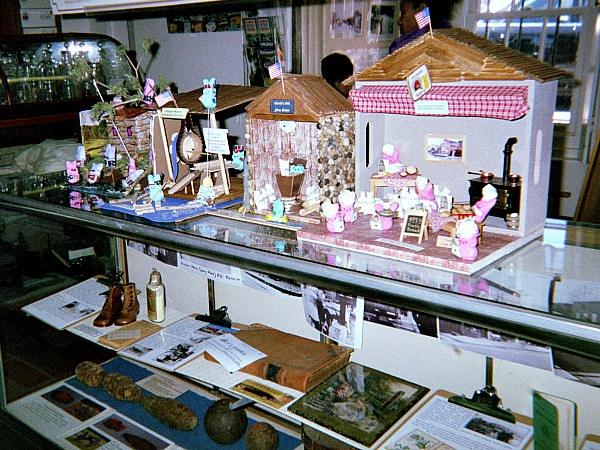 Historical peeps on display at an historical site.