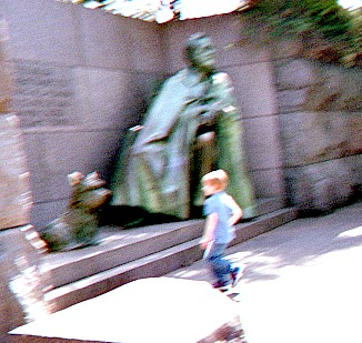 Kid rushing to have picture taken at FDR memorial