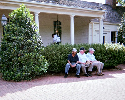 Adult and senior development includes seniors sitting in front of Mount Vernon restaurant.