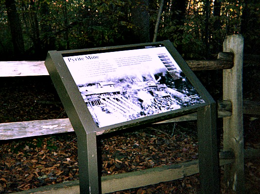 Information about pyrite mine sign.