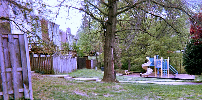 Playground in back of townhouses.