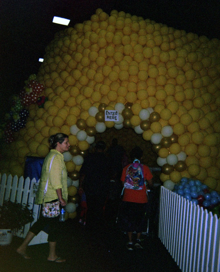 Playing games like exploring this balloon beehive can inspire creativity.